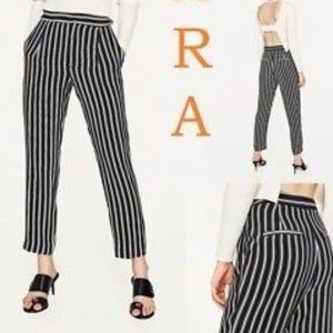 Zara Straight Black White Pinstripe Trousers